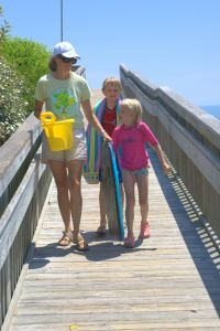 mother and two kids walking across bridge with beach toys, ocean in background for poems to mothers