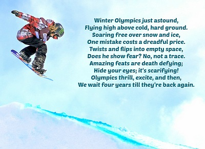 Olympic snowboarder flying down hill.