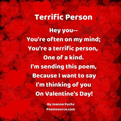 Bright red background of overlapping hearts with Valentine Poem in white text.
