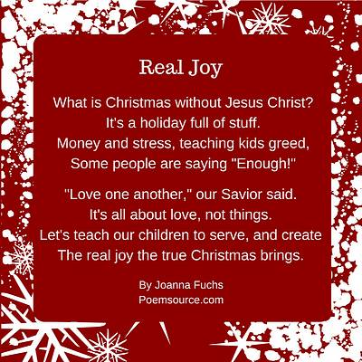 Christian Christmas poem Real Joy in white text on maroon background with white stars.