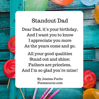 Dad birthday poem Standout Dad on teal border with flowers and birthday candles.