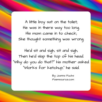 Multicolor striped background for funny poem about boy on toilet slapping the top of his head, like ketchup.