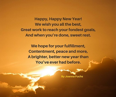 Sun setting behind clouds. New Years poem Happy, Happy New Year.