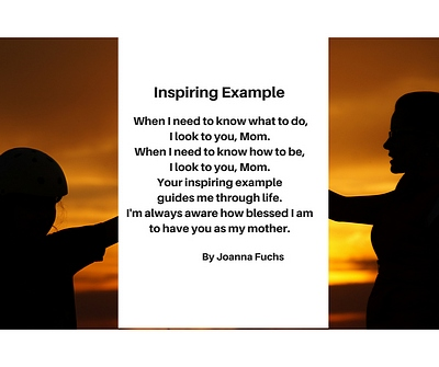 Silhouettes against gold background mother reaching to daughter with mothers day poem in middle on white background