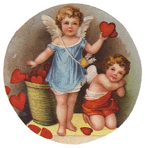 Two winged cupids, on holding heart, basket of hearts in background.