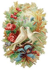Doves kissing framed by Valentine wreath and bow.