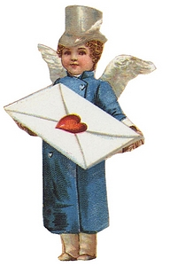 Cupid in silver hat and shiny blue coat holds envelope sealed with a heart.