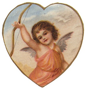 Girl Valentine cherub with bow in heart frame