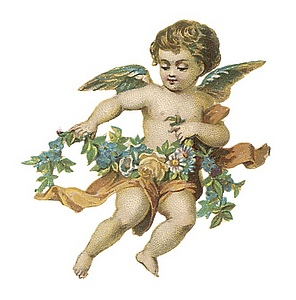 Winged cupid with sash and wreath around hips.