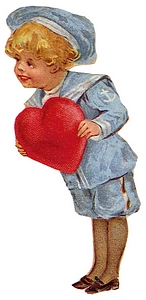 Boy in sailor suit holds big heart for Valentine.