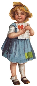 Girl holds lacy antique Valentine.