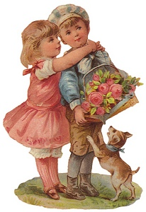 vintage valentine image girl kissing brother