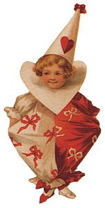 Child Valentine jester with heart around neck.