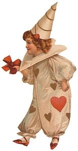 vintage valentine image jester w hearts side