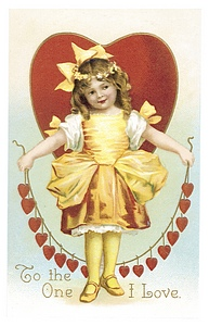 Girl in gold dress with heart behind her holds string of smaller hearts.