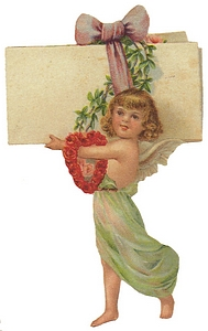 Girl with heart wreath over arm carries huge envelope with bow.