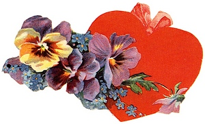 vintage valentine heart with pansies
