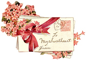 Valentine envelope with flowers and bow addressed to My Sweetheart.