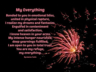 Black background with fireworks. Erotic love poem,