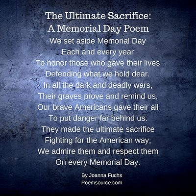 Dark blue background with white text for patriotic Memorial Day Poem