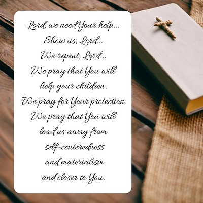 Plank background with Bible and cross and Christian message part of A Prayer for America
