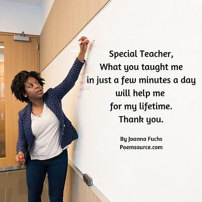 Black female teacher writing on whiteboard. Special teacher poem at side.