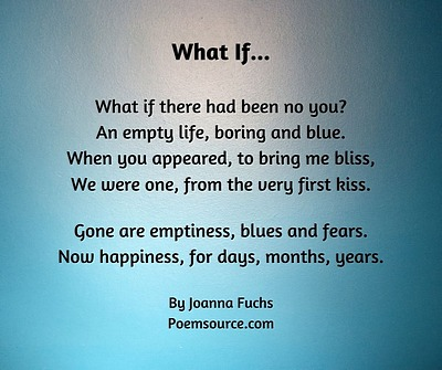 Anniversary Love Poem What If on shaded blue background.