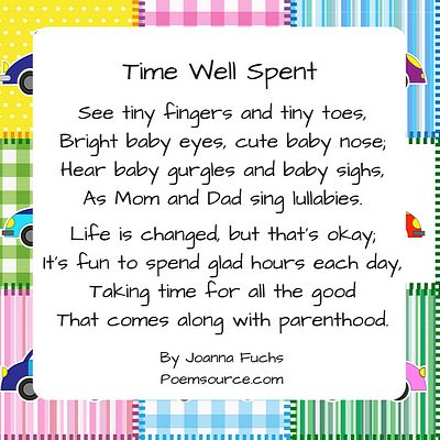 Quilt background with baby poem Time Well Spent.