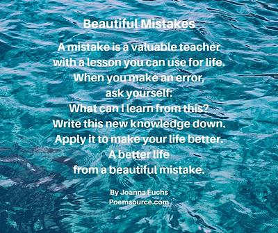 Background of open ocean with poem about the value of mistakes superimposed on it.