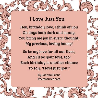 Birthday love poem I Love Just You on pink background with rococo frame in pink.