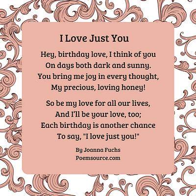 Birthday Love Poem I Just You On Pink Background With Rococo Frame In