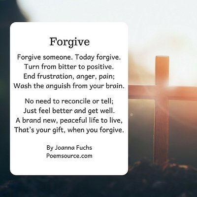 Christian poem Forgive on background with cross.