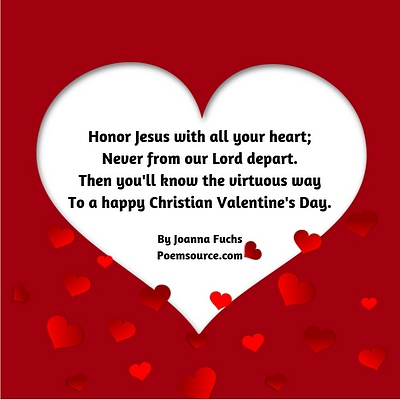 Red frame white heart cutout with Christian Valentine poem in middle