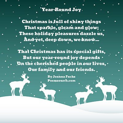 Teal background, Christmas snow falling, reindeer in white, poem in white text