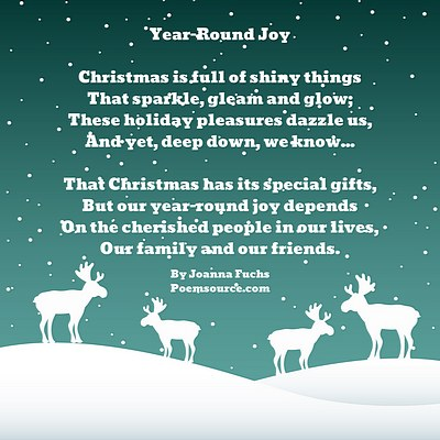 teal background christmas snow falling reindeer in white poem in white text