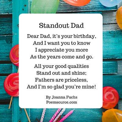 Dad Birthday Poem Standout On Teal Border With Flowers And Candles