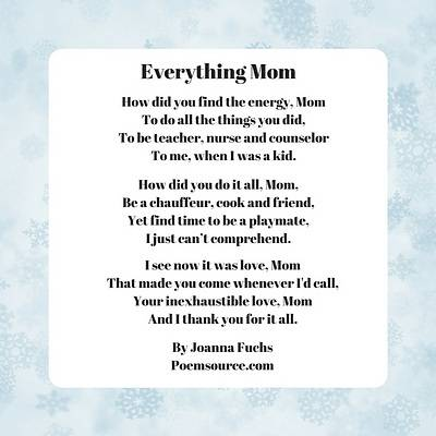 Mother Poems Words Of Love And Appreciation