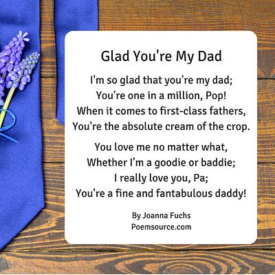 Father poem Glad You're My Dad. Wood background with bright blue neckties.