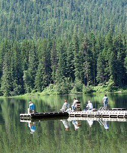 Fathers on dock of glassy reflective lake surrounded by forest