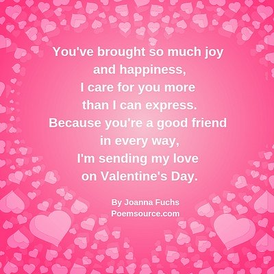 Pink background with light pink hearts and poem in white text.