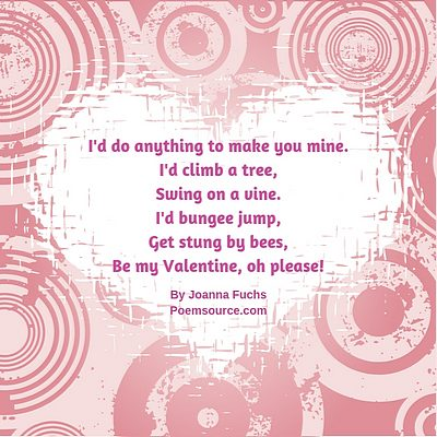 Busy mauve frame around white heart with funny valentine poem in fuchsia text.
