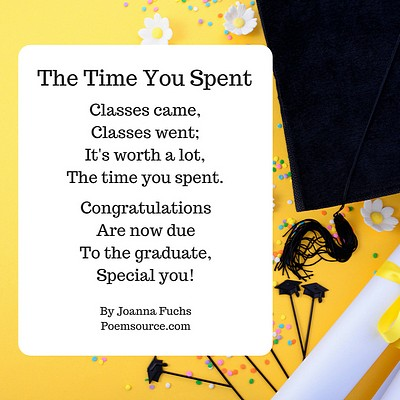 Flowers and black graduation cap on yellow background. Poem on white rectangle.