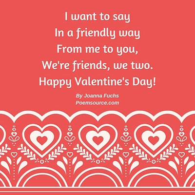 Light red background, white lacy lower border with kid Valentine poem in white.