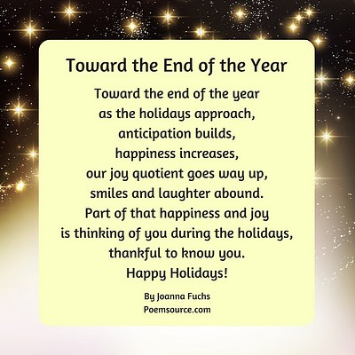 Stars on dark background, yellow square with holiday poem Toward the End of the Year
