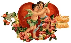 Two cupids with giant gold arrow in front of red heart.