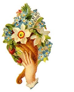 Hand holding basket of forgetmenots and a jonquil with Christian message be my guide