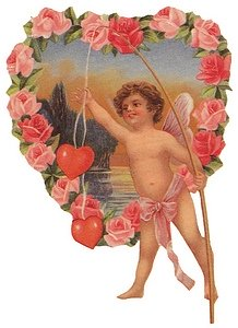 Winged cupid fishes for hearts in lake within big heart of roses.