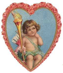 Cupid sits in a rose framed heart holding a torch.