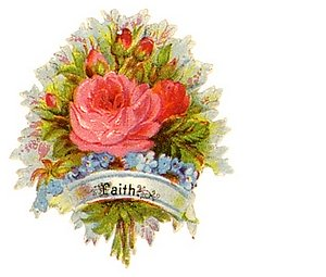 Christian message faith bouquet of roses, blue flowers in a basket held by hand