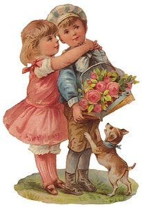 Boy holds flowers for girl with her arms around his neck. Dog jumps up on boy.